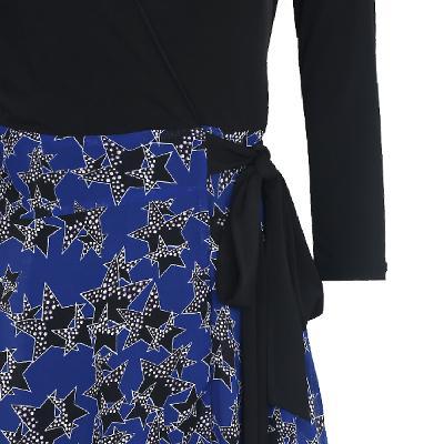 star pattern wrap ribbon dress